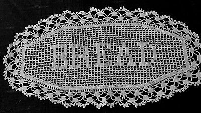 "Early Vintage Wht Crochet Lovely Bread Tray Decorative Lining-Cover 11""x 5 3/4"""