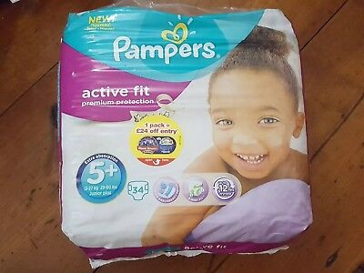 34 Pampers Premium Protection Active Fit Nappies Pack - Size 5 + new!
