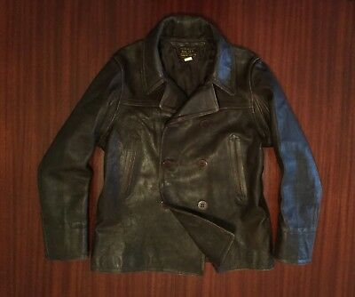 NWT RRL Ralph Lauren Distressed 100% Goat Leather Jacket Peacoat Brown Men's S M
