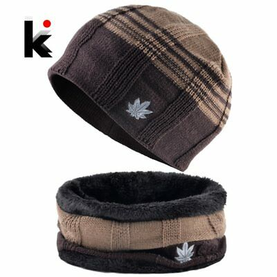 Winter Warm Hat Scarf Set For Men Fashion Maple Leaf Knitted Wool Skullies