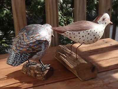 2 Vintage Hand Made , Carved And Painted Wooden Birds Approx.6.5 Inches