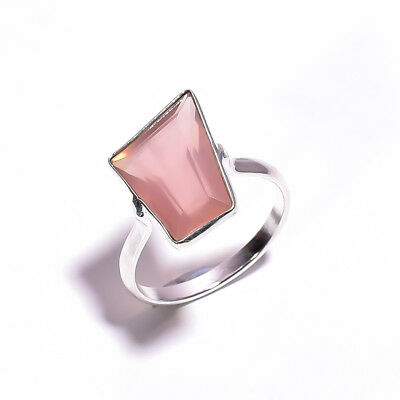 Classic Natural Rose Quartz Gemstone Ethnic Style 925 Sterling Silver Ring 7 US