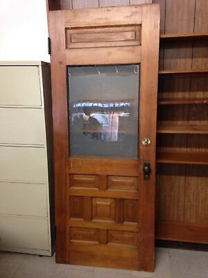 Antique Etched Glass Entry Door Fisherman Stone Bridge Used