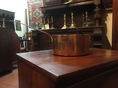 Antique Copper Pan; hand hammered handle; English or Continental 18th or 19th. c