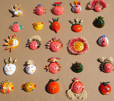 SET of 25 MASKS coconut shell mexican handmade colorful wholesale lot folk art