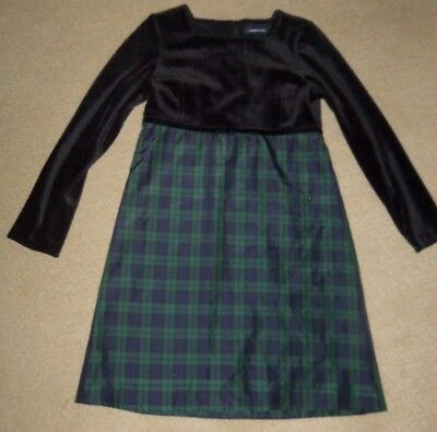 3fa17304f4847 Lands' End Girls Long Sleeve Black Velvet Bodice Green Plaid Dress Holiday  sz 12