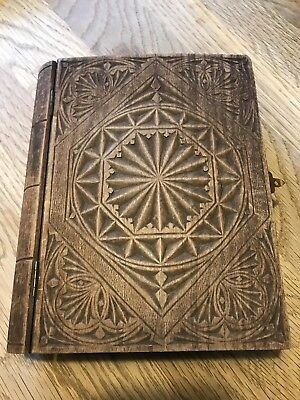 Vintage Black Forest Style Carved Hinged Wooden Box In Shape Of A 📚 Spells Book