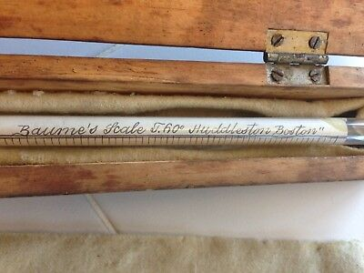 Antique Baume's Scale Boston /HuddlestonMASS, temp 60 with wooden box rare