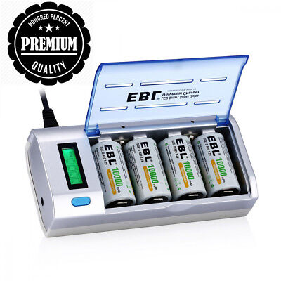 EBL LCD Universal Battery Charger and Discharger with 4 Pack 10000mAh Ni-MH...