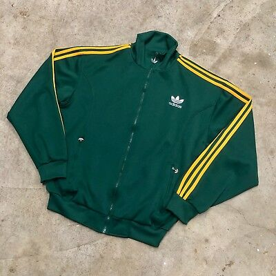 90s Adidas 3 Stripes Zip Up Track Jacket Green / Yellow VTG Size L