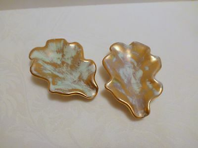 Pair of Stangl Small Oak Leaves in Antique Gold