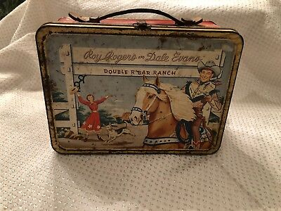 Vintage 1953 Roy Rogers Double R Bar Ranch Metal Lunch Box