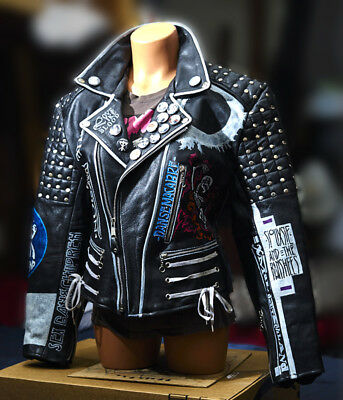 GOTH Punk Painted Studded LEATHER JACKET 80s / 90s Gothic Post Punk Alternative