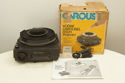 Kodak Carousel 650H Slide Projector with 102mm lens, tray, remote, and bulb