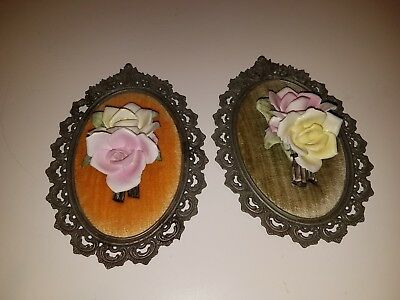 Pair Of Vintage Porcelain Flowers on Velvet Plaque Wall Hangings CAPODIMONTE??
