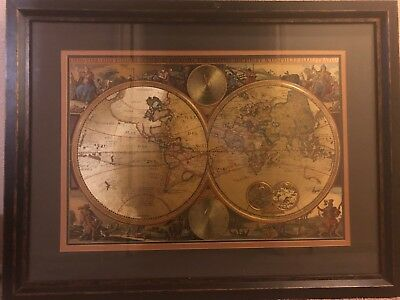 Orbis Terrarum Double Hemisphere Map Foiled Framed And Matted The Bombay Company