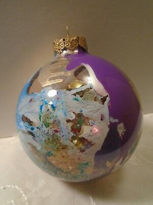 Vintage Large Modern End Of Day Blown Glass Christmas Ball Ornament. Gorgeous.