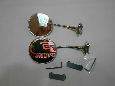 2 vintage style 4 inch round mirrors door mount mirrors side view mirror (pair)
