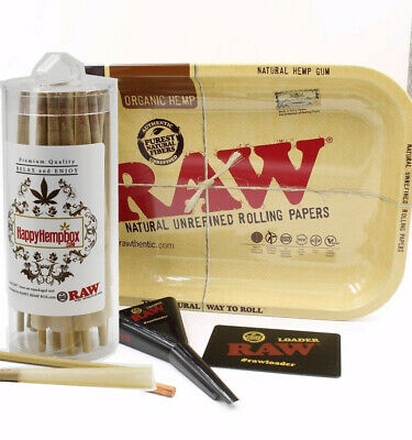RAW Classic Lean Cones (50 Pack) with Raw Rolling Tray +Raw Lean Cone Loader