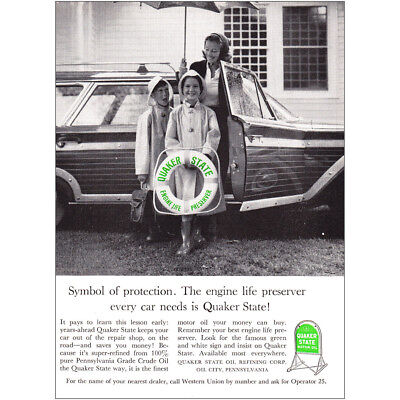 1961 Quaker State Motor Oil: Symbol of Protection Vintage Print Ad