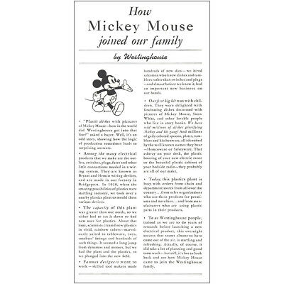 1939 Westinghouse: Mickey Mouse Joined Our Family Vintage Print Ad