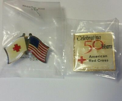 Lot of 2 AMERICAN RED CROSS PIN  Celebrating 50 Years US Flag NEW