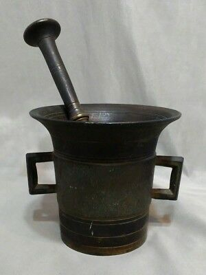 Antique 1800's 19th Century Brass Bronze Mortar Pestle Double Handle Apothecary