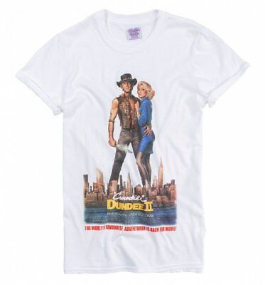Women's Crocodile Dundee II Movie Poster White Boyfriend Fit Rolled Sleeve T-Shi