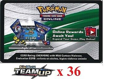 36 x Pokemon SM9 Team Up Code TCGO Cards TCG Codes SENT WITHIN 12 HOURS