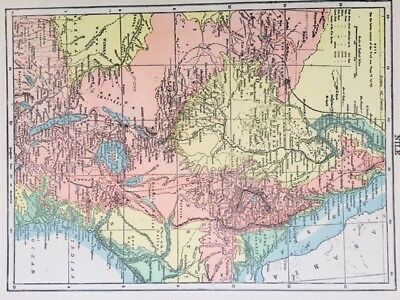 1895 Map of Egypt in German Language - Color, Political, Nile, Red Sea, RARE!