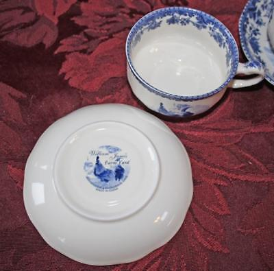 Cobalt Blue Rooster Pattern William James Farm Yard Set 4 Cofee Cups & Saucers