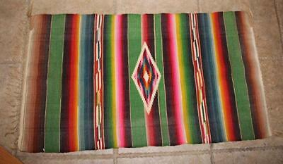 """Vintage Mexican Southwestern WOOL Saltillo Table Runner Wall Art Small 34"""" X 20"""""""