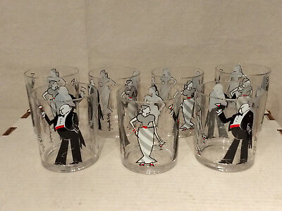 MCM Mid Century GEORGES BRIARD Signed DRINKING PARTY Man Woman Martini TUMBLERS