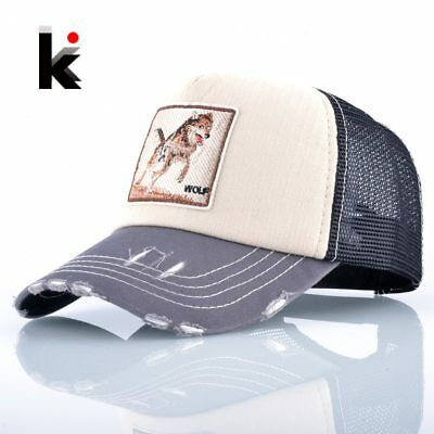 Fashion Unisex Patch Bones Wolf Embroidery Hip Hop Hats Breathable Mesh