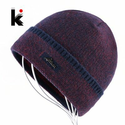 Winter Hat Thick Knitted Skullies Beanies Men Double Layer Keep Warm Knitting