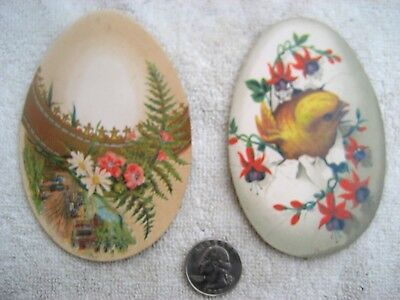 2 egg shaped Easter cards chick in egg & horse& wagon - no advertising - 1880's