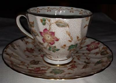 Tuscan Tea Cup and Saucer Set with Passion Vine Pattern