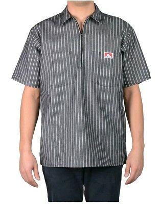 879bdf20135 New Ben Davis Short Sleeve 1 4 Zip Butcher Block Stripe Grey Work Shirt XXL