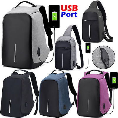 Anti-Theft Laptop Backpack Travel Bag Water Repellent USB Port Travel Busines AU