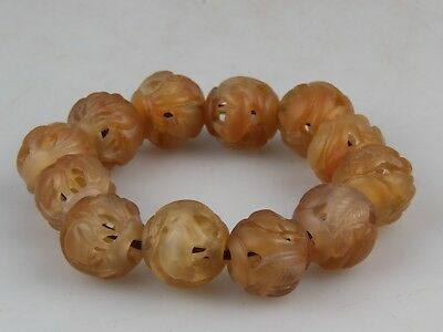 Chinese Exquisite Hand-carved beast carving agate bracelet