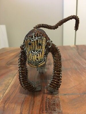 Hand-Crafted Beaded and Galvanized Wire Monkey - Brown and Gold Color