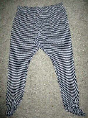 Baby Boys *** FOOTED*** Cotton White & Navy Blue Stripe Leggings Size 12-18 Mths