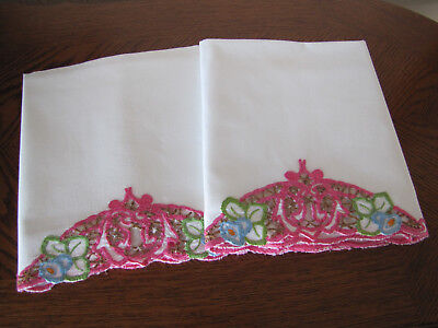 Vintage Pair of Pillowcases Embroidered & Open Work Orchids & Asters Wow