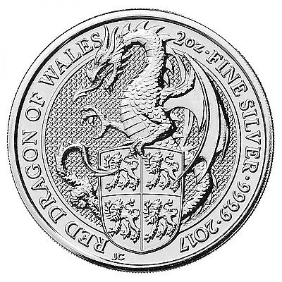 2017 ~ 2~Oz ~ Pure .999 Silver ~Uk~ Silver  Queen's  Beast ~ Red Dragon ~ $54.88