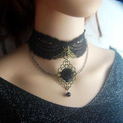 Gothic Girls Black Floral Choker Gothic Lady Lace Necklace Vintage Collar