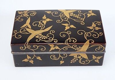 Antique Japanese Silver Lined Black Lacquer Box  -  54644