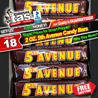 5th Avenue Crunchy Peanut Butter Candy Bars Box of 18~~~ The Auction Store