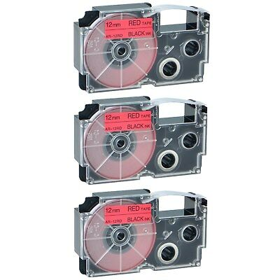 3PK Compatible Casio XR-12RD Black on Red Label Tape for EZ KL-8100 12MM X 8M