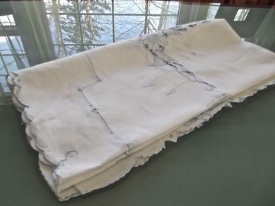 """Vintage Madeira White Linen 34""""Sq Tablecloth FAB Blue Embroidery Bridal Topper"""
