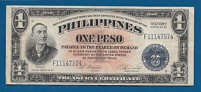Philippines 1 Peso ND-1944 P-94 Victory Overprint on Back WW2 Era PTO Banknote